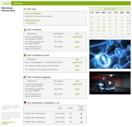 Site internet - Accueils Plateforme e-learning - HDready