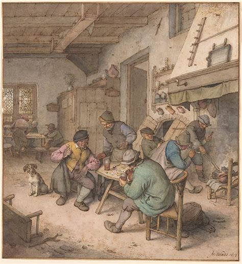 Adriaen van Ostade | Ale House Interior with Nine Peasants
