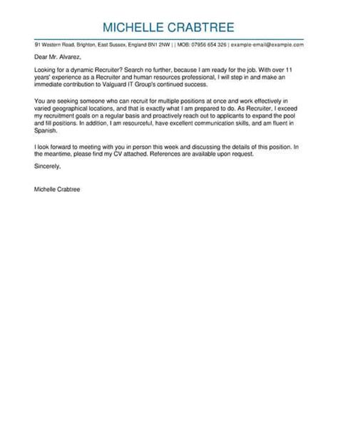 Recruiter Cover Letter Examples for Human Resources