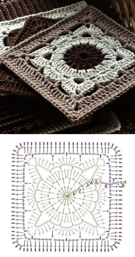 Beautiful granny square with pattern | Crochet, Tricot et