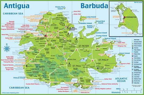 Large detailed tourist map of Antigua and Barbuda (With