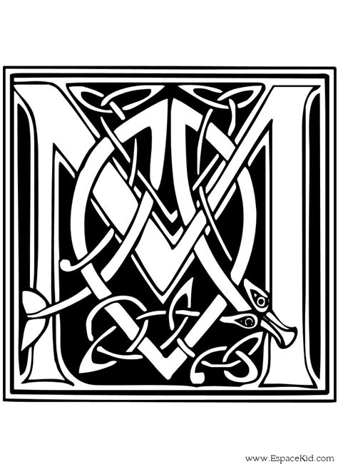 Coloriage Lettre M : coloriages Lettrine Celte | Celtic