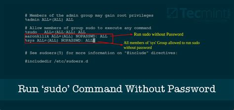How to Run 'sudo' Command Without Entering a Password in Linux