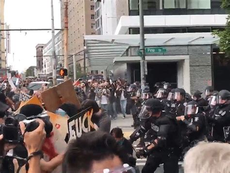 Silly String Initiates Seattle Protesters Getting Pepper