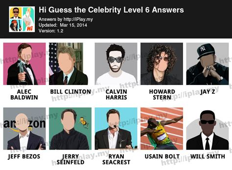 Hi Guess the Celebrity Answers All Levels | iPlay