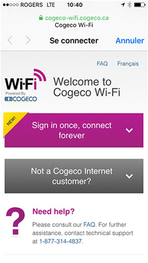 How do I connect to the Cogeco Wi-Fi network with my