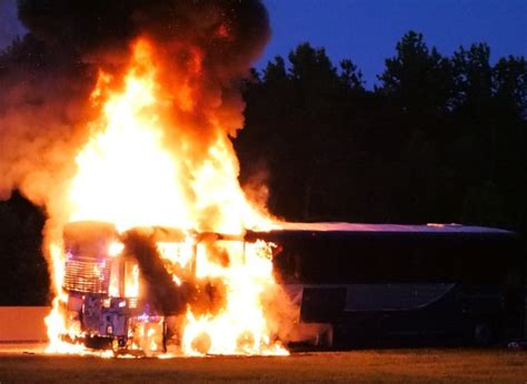 1 hurt after Greyhound bus catches fire on N