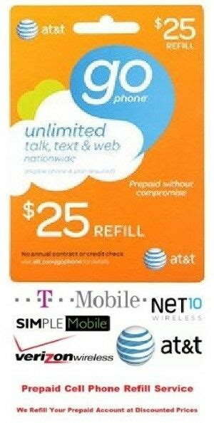 $25 AT&T Refill Reload Airtime GO Phone Card Prepaid Top