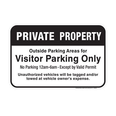 Private Property, Visitor Parking Only Sign  Parking Lot